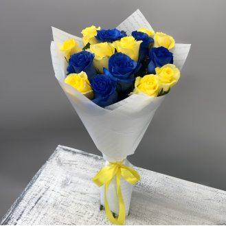Дюймовочка - 15 желто-синих роз