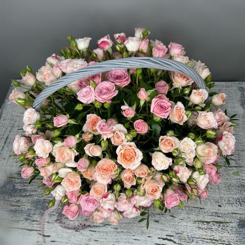 Самая Нежная - Корзина из кустовых роз