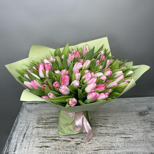 Самой лучшей девушке - 101 розовый тюльпан
