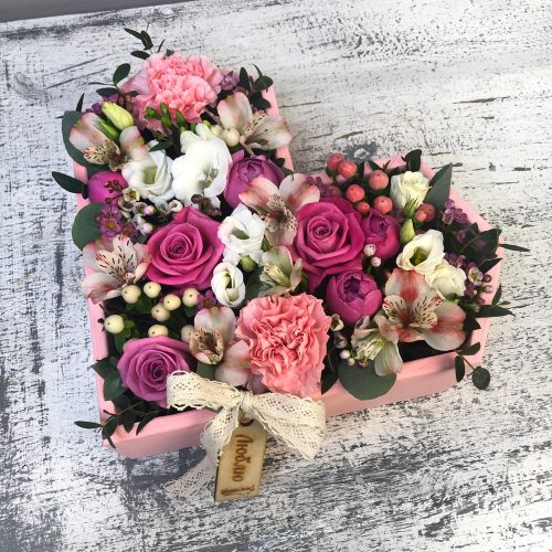 Розовое цветочное сердце