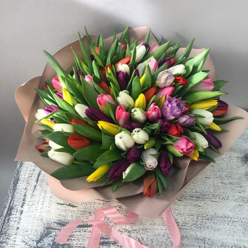 Месяц март - 101 разноцветный тюльпан