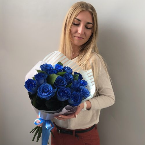 Гипноз - букет из 15 синих роз