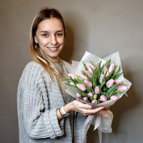 Розовый зефир - 25 тюльпанов