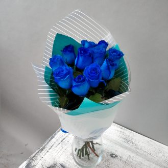 Аквамарин - 11 синих роз