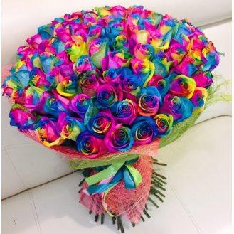 Феерия чувств - 101 радужная роза