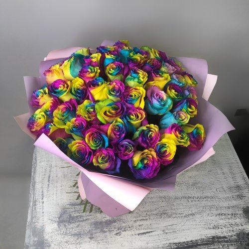 Останься со мной - 51 радужная роза
