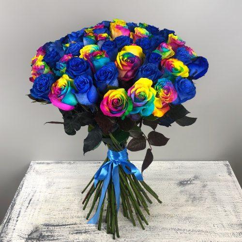 Островок любви - 51 радужно-синяя роза