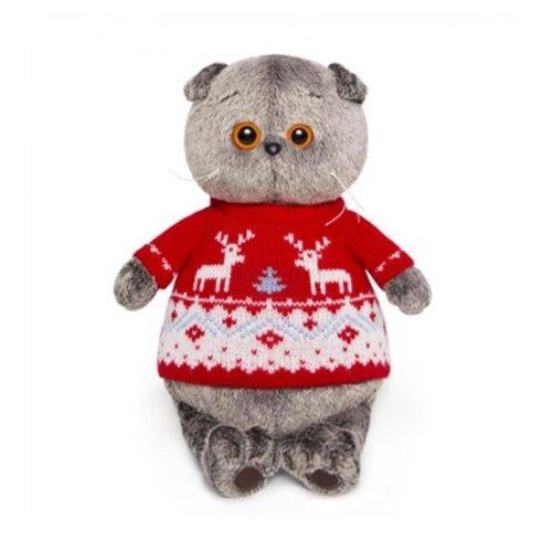 Котик Басик в свитере с оленями, 19 см