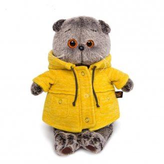Котик Басик в желтой куртке 19 см