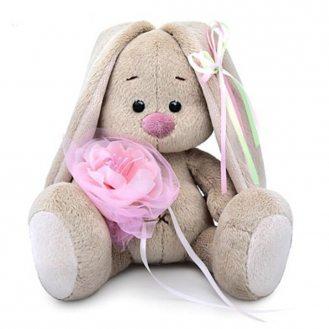 Зайка Ми с розовым цветком 15 см